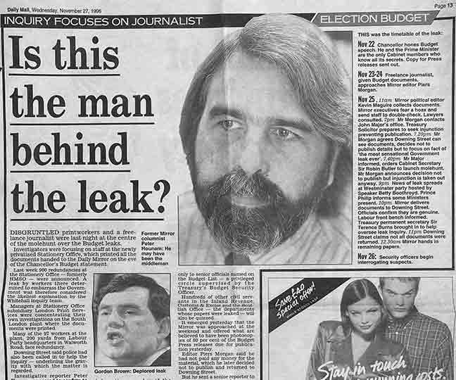 Inquiry Focuses On Journalist - 1996 Budget Leak