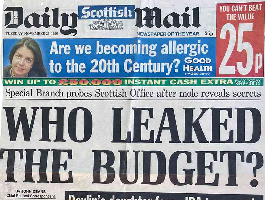 Who Leaked the Budget? 1996