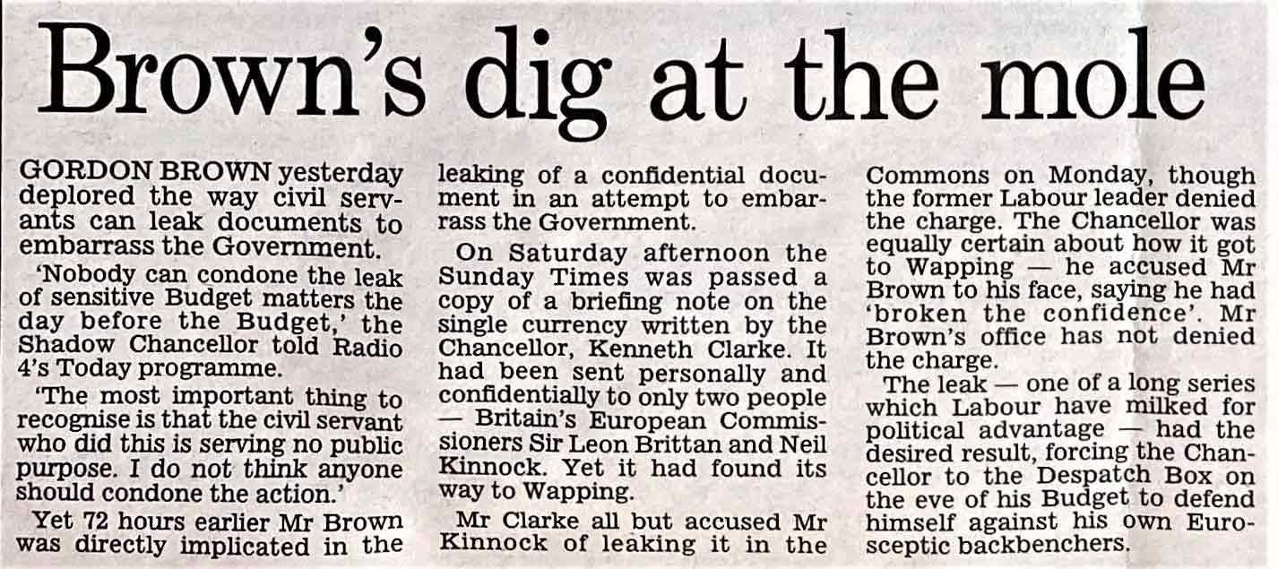 Gordon Brown's Dig at the Mole