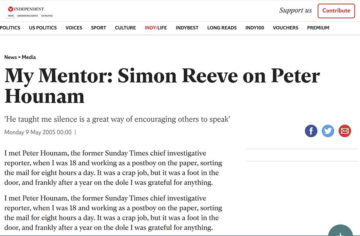 My Mentor_ Simon Reeve on Peter Hounam